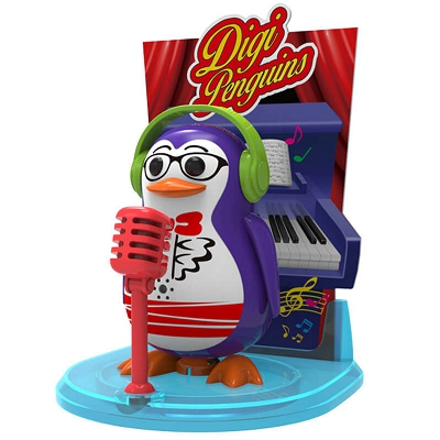 DigiFriends - DigiPenguins Pingwin Travis Sway ze sceną i mikrofonem 88347